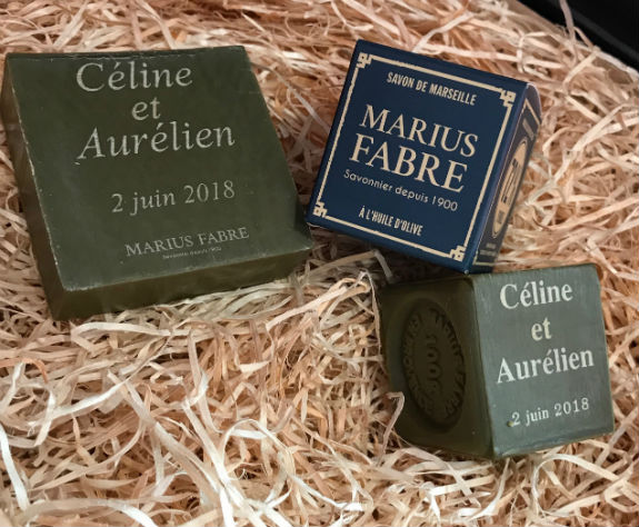Slice of Marseille soap perfumed to personalize